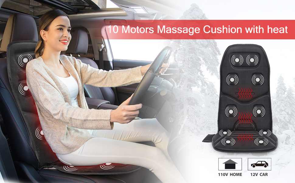 heated seat cushion back massager with heat