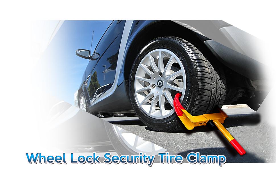 Zone Tech Wheel Lock Security Tire Clamp 2-Pack Premium Quality Heavy Duty Anti Theft Protective Vehicle Wheel Lock