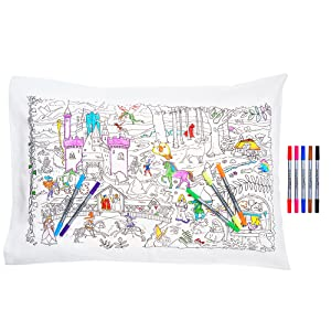 Dragons Color Your Own Pillow Case with Unicorns Princesses and More to Personalize Washable Fabric Markers Included eatsleepdoodle Fairytales /& Legends Educational Pure Cotton Soft Pillowcase