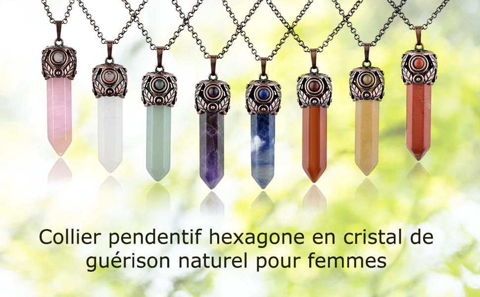 Alb/âtre Pendentif Am/éthyste Prsellings Pendentif Amulette Pierre Naturelle Cristal Hexagone Cha/îne Pendentif Charm Collier Am/éthyste Quartz Rose