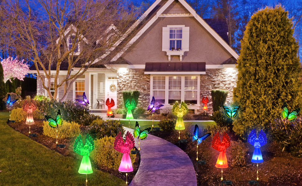 yard art lights solar landscape patio pathway decorations outdoor  lights solar powered lights