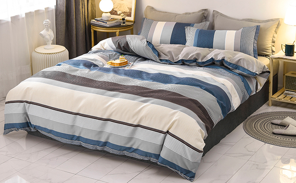 3 Pieces boho Duvet Cover Set Bohemia king queen blue brown gray beige printed striped