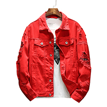 Distressed Jacket Casual Button Down Trucker Ripped denim Jacket Men Jean Coat Red