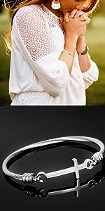 Silver Sideways Cross Bracelet Cuff Bangle