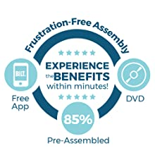 Frustration-Free Assembly, experience the benefits within minutes, comes 85% pre-assembled, Free App