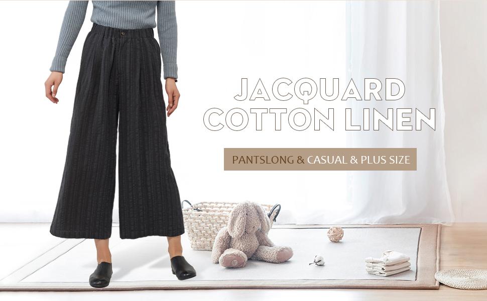 Les umes Womens Loose Linen Cotton Wide Leg Long Pants Plus Size Casual Trousers
