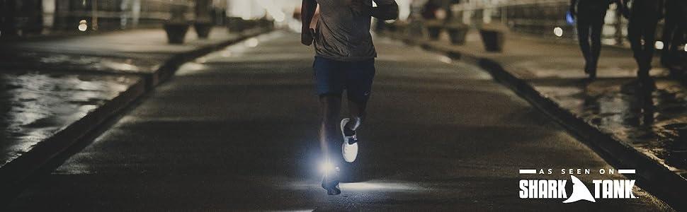 running at night runner shoe lights knuckle lights headlamp safety