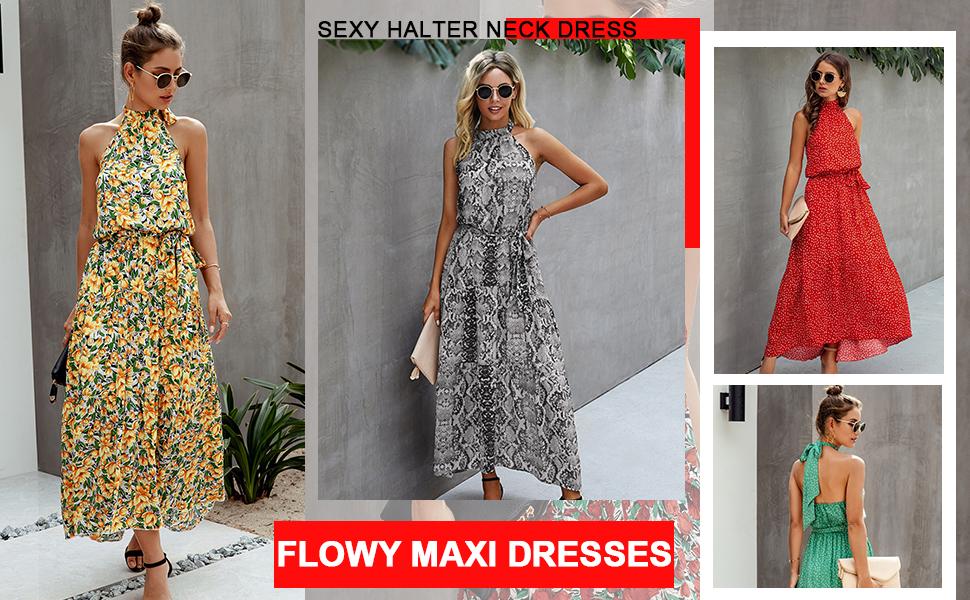Floral PolkaDot Halter Dress maxi sundresses for women casual summer halter summer dresses for women