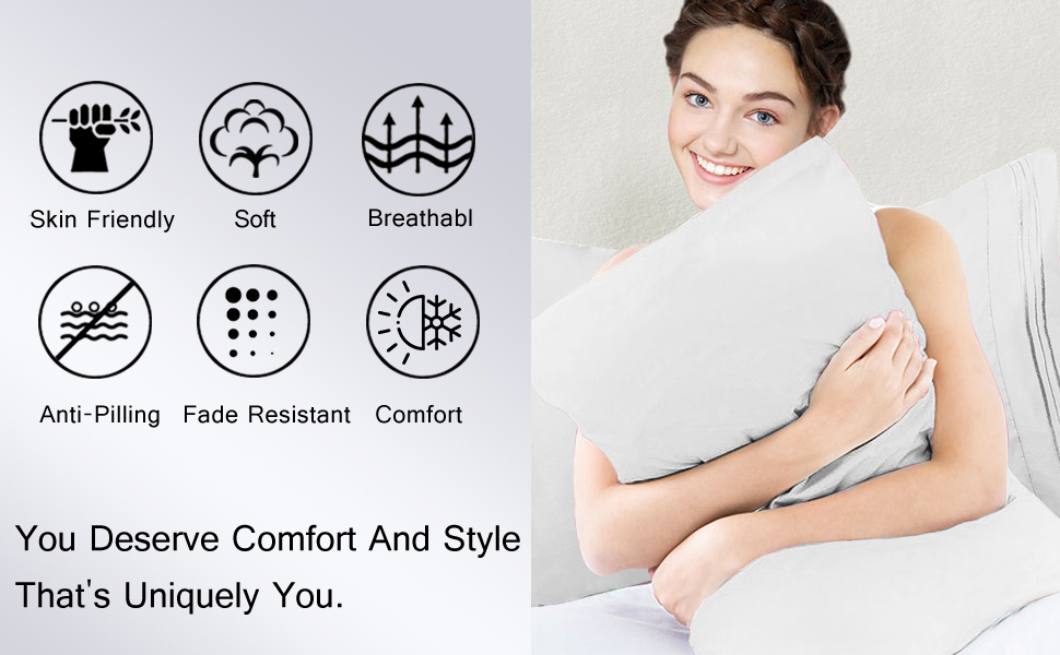 Ultra soft and comfortable microfiber pillowcases set of 2
