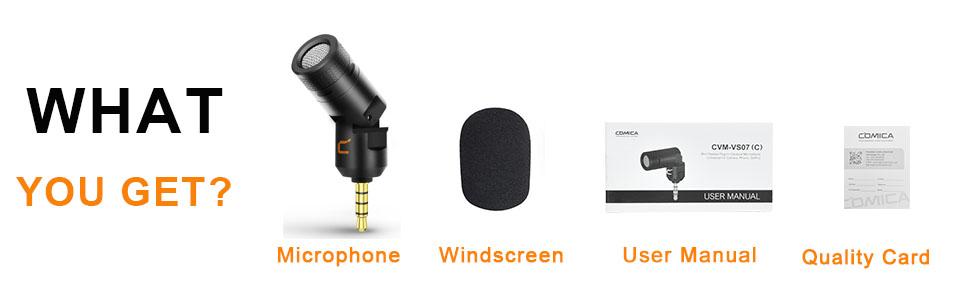 package: microphone, windscreen, user manual,