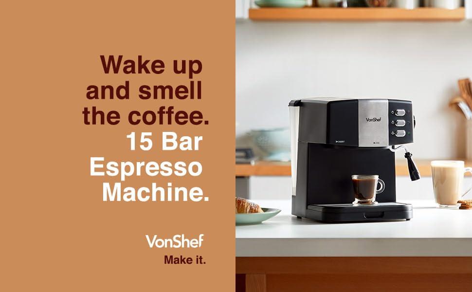 Espresso coffee maker machine vonshef 15 cappuccino latte barista style milk frothing filter
