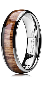 6mm koa wood inlay tungsten ring