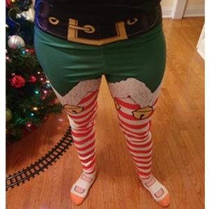 Bemawe Womens Holiday Festive Santa Claus Elf Print Striped Christmas Leggings Tights Costumes