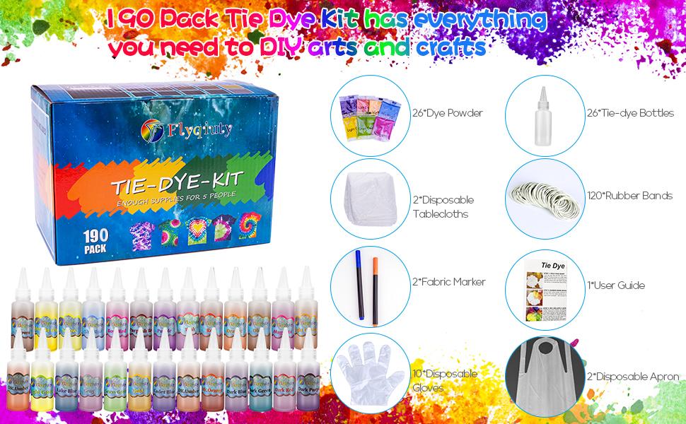 Tie Dye Kit, Flyqiuty Textiles de Tela 26 piezas Colores Pinturas Ropa Tinte Graffiti para Proyectos de Bricolaje y Actividades de Fiesta