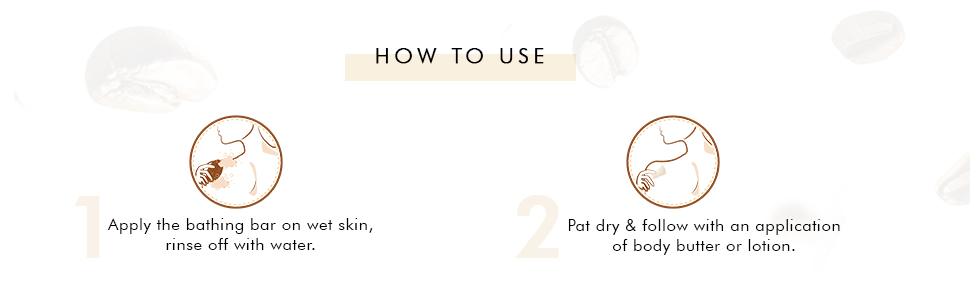how to use apply bathing bar on wet skin rinse off with water pat dry follow with body butter lotion