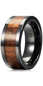 6mm 8mm black ceramic koa wood ring