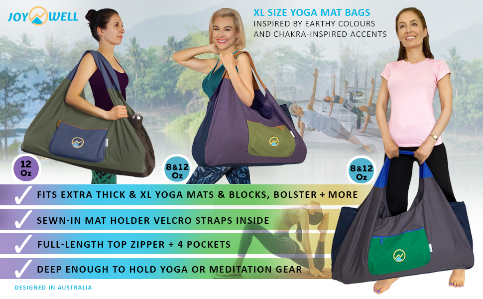 EXTRA LARGE canvas YOGA MAT BAG with Velcro Straps to hold yoga mat in place
