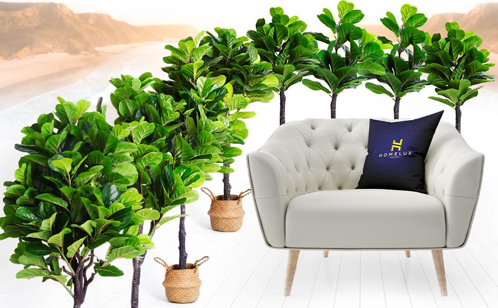 ", Bathroom Decor, and Living Room Decor. 21.7"" Tall Fake Tree Looks Real. Ficus Tree Faux Plant"