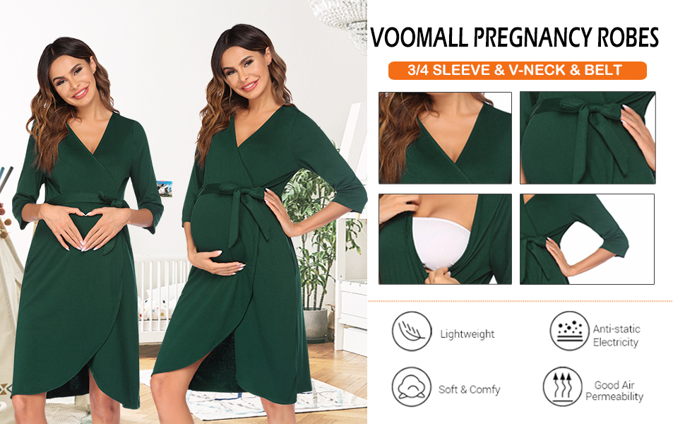 Women's Nursing Robes Mom Maternity Robe Maternity Sleepshirt for Breastfeeding