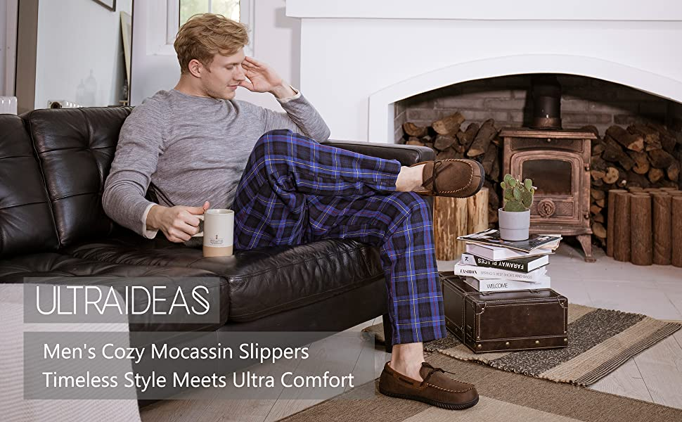 Classic mens moccasin slippers