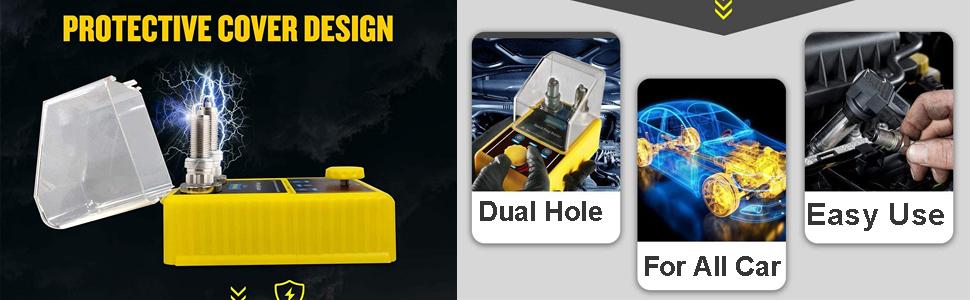 Double Holes Car Spark Plug Tester, Automotive Ignition Plugs Analyzer for Testing 12v