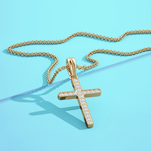 HN Jewels Heart /& Round Cut Lab Created Diamonds Two-Tone Plated Cross Pendant W//18 Chain Necklace