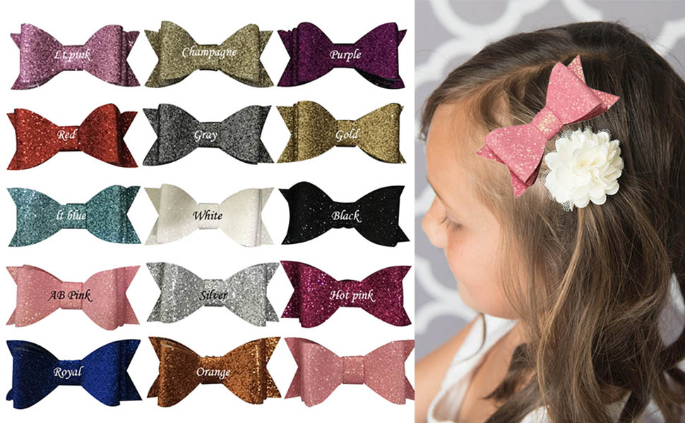 30PCS 2.75 Inch Baby Girls Pigtail Bows Sparkly Sequin Glitter Hair Bows With