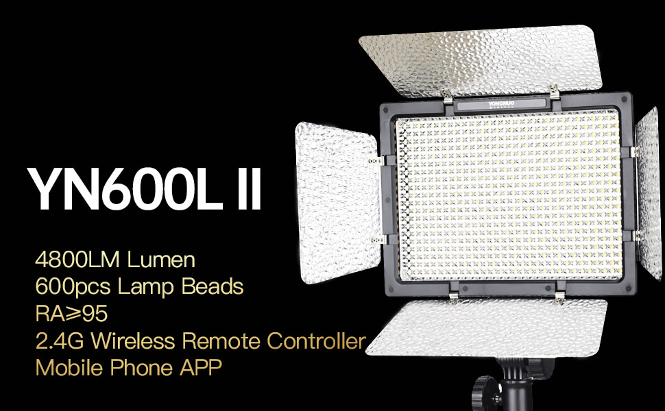 YONGNUO YN600II YN600L II Pro LED Video Light// LED Studio Light with 5500K Color Temperature and Adjustable Brightness for the SLR Cameras Camcorders like Canon Nikon Pentax Olympas Samsung Panasonic JVC etc.