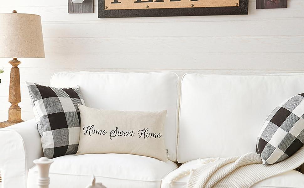 easy diy throw pillow covers step by step tutorial.htm amazon com meekio farmhouse pillow covers with home sweet home  meekio farmhouse pillow covers