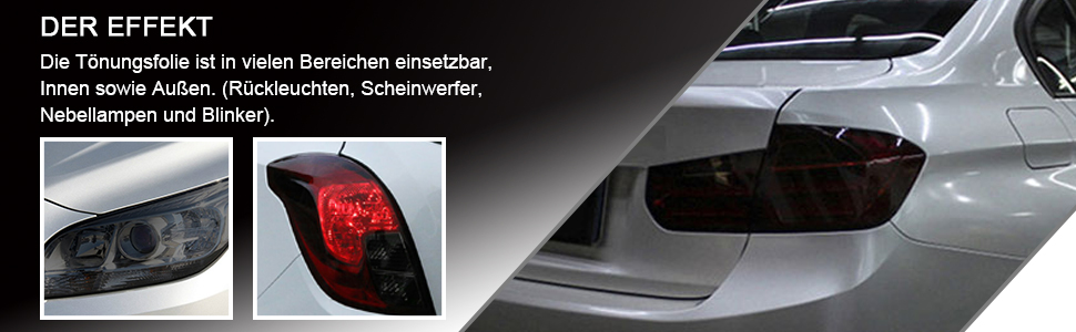 Qeuhang 2 Pcs Scheinwerfer Folie Tönungsfolie Aufkleber 120cm X 30cm Für Auto Scheinwerfer Rückleuchten Blinker Nebelscheinwerfer Hellschwarz Auto