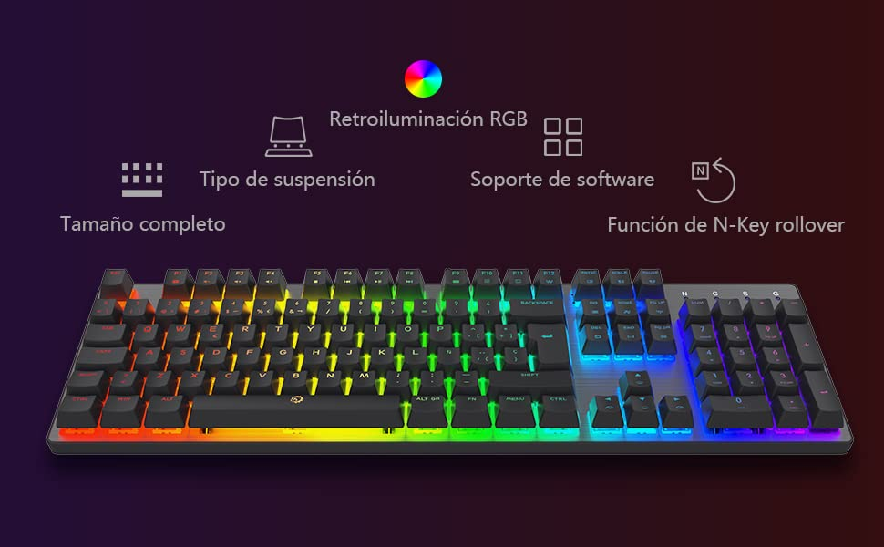 DREVO Tyrfing V2 105Key RGB Teclado Mecánico Gaming con Cable USB diseño Completo Programable Macro Soporte de Software Outemu Clicky Interruptor ...