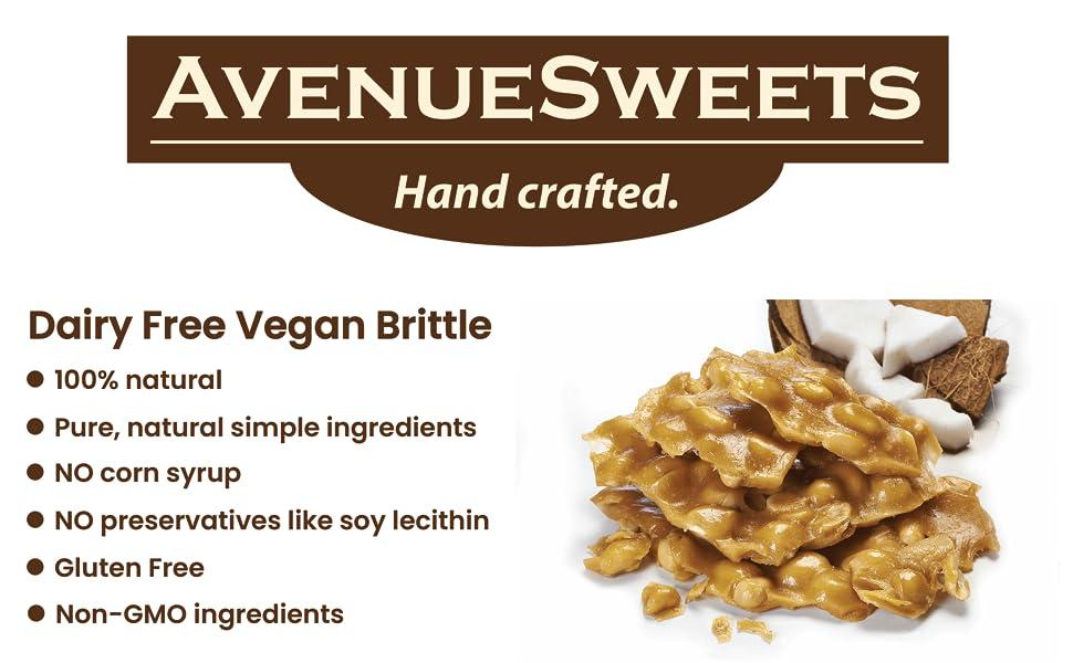 avenue sweets peanut brittle dairy free vegan peanut brittle candy plant based vegan candy