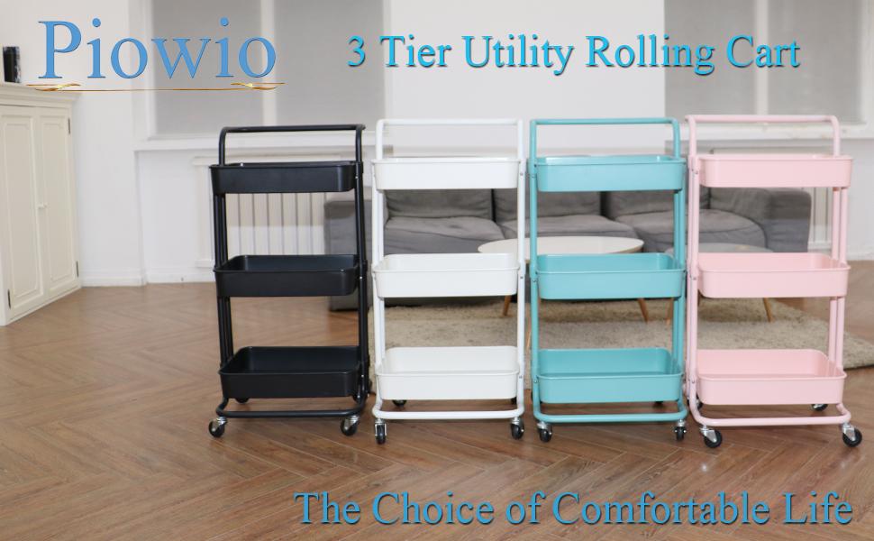 White Piowio 3 Tier Metal Rolling Utility Cart Steel Wire Organizer Storage Shelf with Lockable Wheels for Home Living Room Bedroom Bathroom Kitchen Office Garden etc.