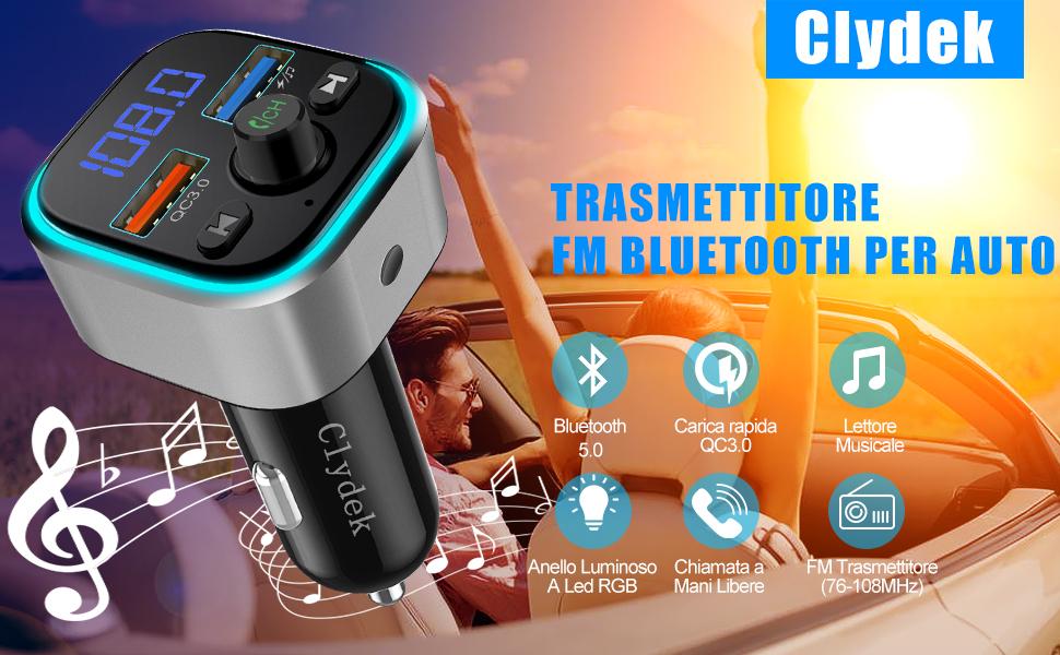 Clydek Trasmettitore FM con Bluetooth 5.0 Kit Vivavoce per Auto Caricabatterie con Doppia Porta USB e Luce Colorita Adattatore e Ricevitore Radio FM QC3.0 Lettore Musicale Supporta USB  TF