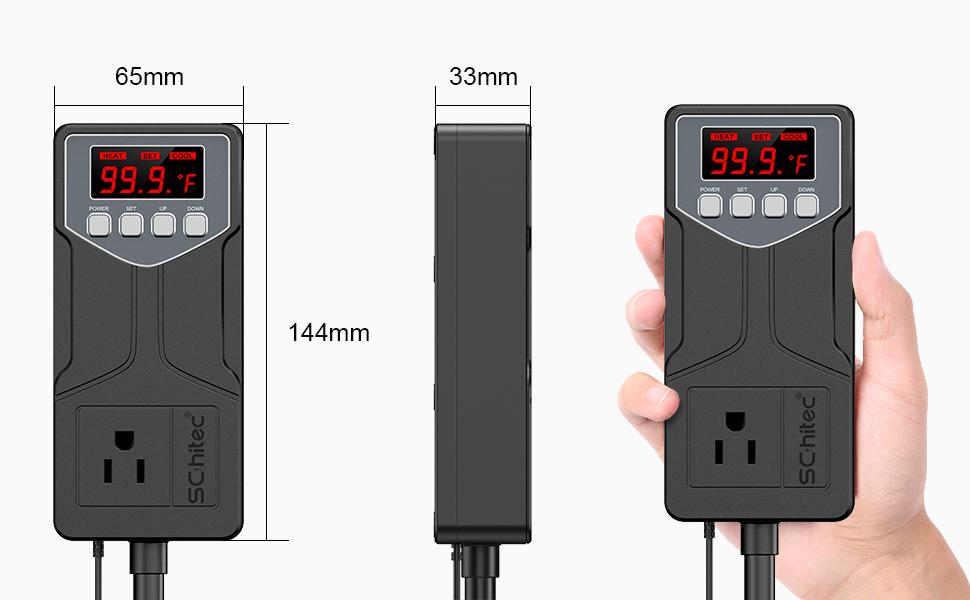 Interruptor salida termostato digital etapa simple controlador 110V 15A negro