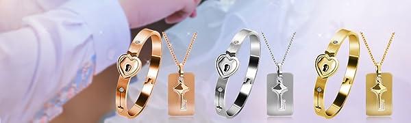 lock bracelet and key necklace,heart bracelet with necklace,key necklace for men,lock bracelet women