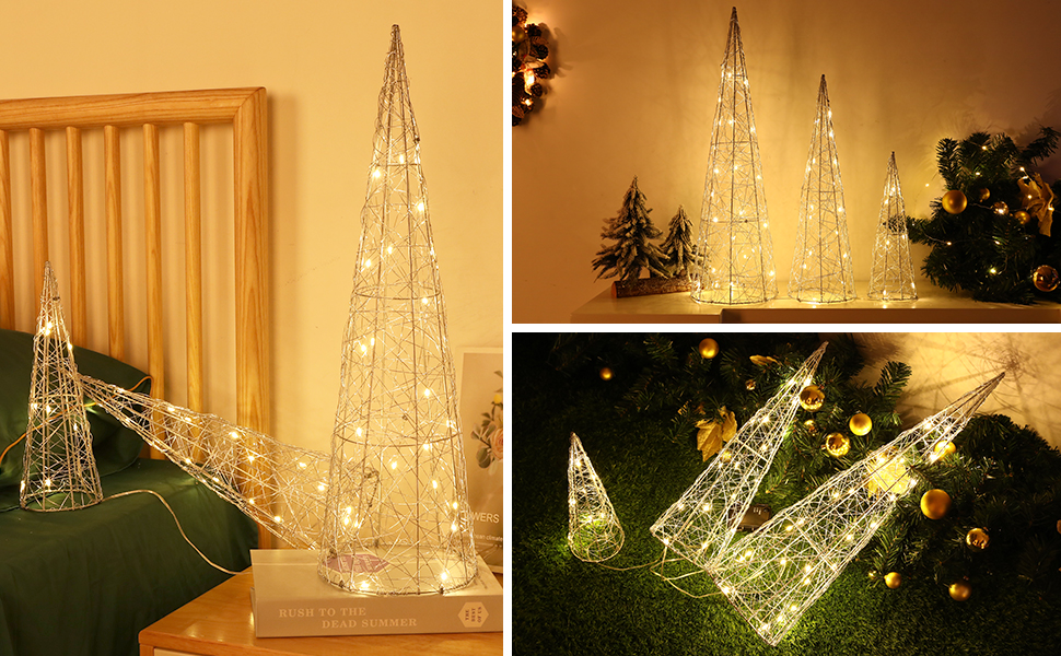 Luxspire Christmas Tree Silver Woven Metal Wire Christmas Tree with Lights Artificial Christmas Tree with LED Lights Battery Powered for Indoor and Outdoor Holiday Christmas Decoration