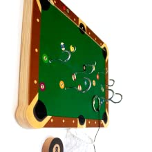 Side view of Pocket Billiard board to show hook configuration and board design
