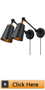 Industrial Plug in Wall Sconces Set of 2