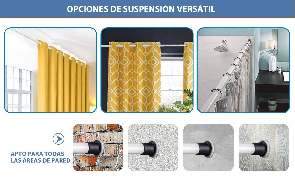 KINLO 70-110cm Barra de cortina de ducha Barra telescópica Barras de sujeción Barra de cortina de acero inoxidable sin perforación Beiges Patrón Barra de sujeción Barras de sujeción: Amazon.es: Bricolaje y herramientas