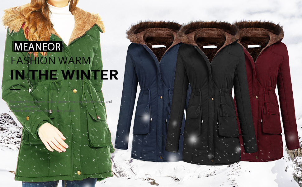 Meaneor womens parka coat