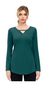 Womens Casual Long Sleeve Tunic Crewneck Pullover Long Sleeve Loose Athletic T-Shirts