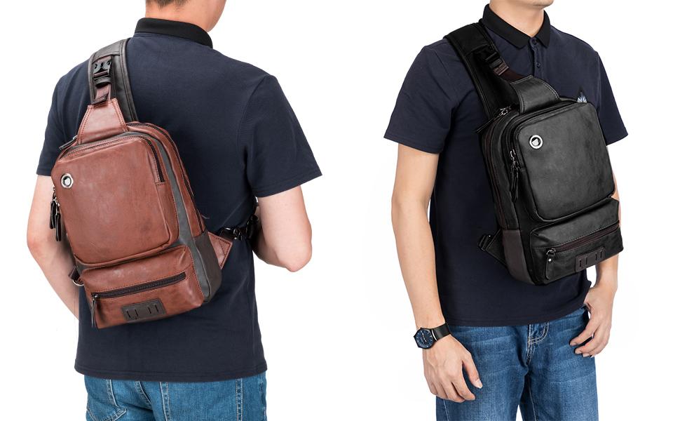 SPAHER Bolso Bandolera Hombre Mochila de Pecho Piel Cuero Bolsa Bolsos de Mochila Deportivo Bolsa Sling Crossbody Messenger Bag Daypack para Negocio