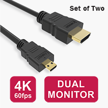 Set of Two CanaKit Raspberry Pi 4 Micro HDMI Cables