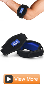 Golf Tennis Elbow Brace with Metal Buckle Compression Pad with 4 Adjustable Band Straps