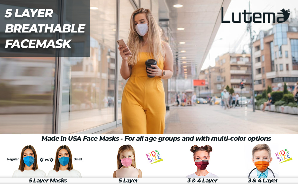 5-Ply face masks for boys girls made in usa only