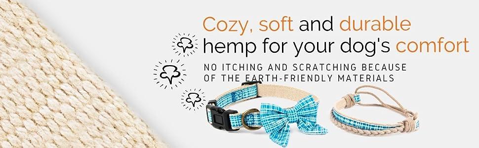 soft dog collar hemp cozy durable comfort stylish modern animal friendly light puppies calming pup