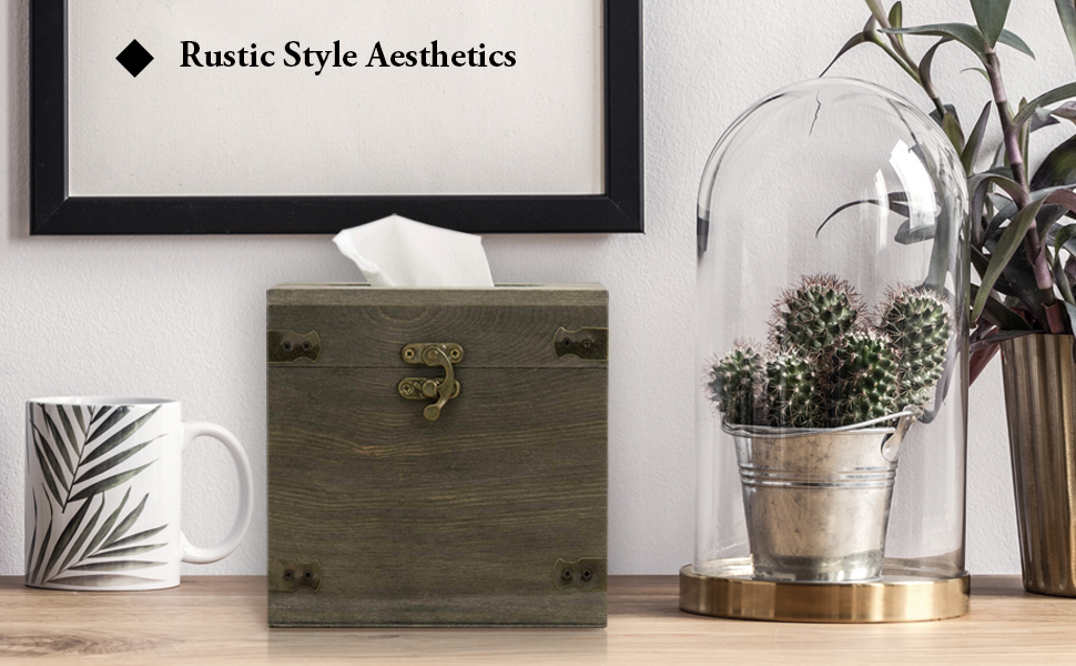 Wood Square Facial Tissue Box Holder Cover with Hinged Lid and Hook Lock Latch