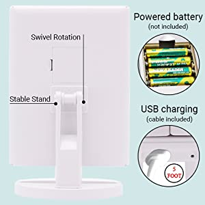 Plug in lighted makeup mirror