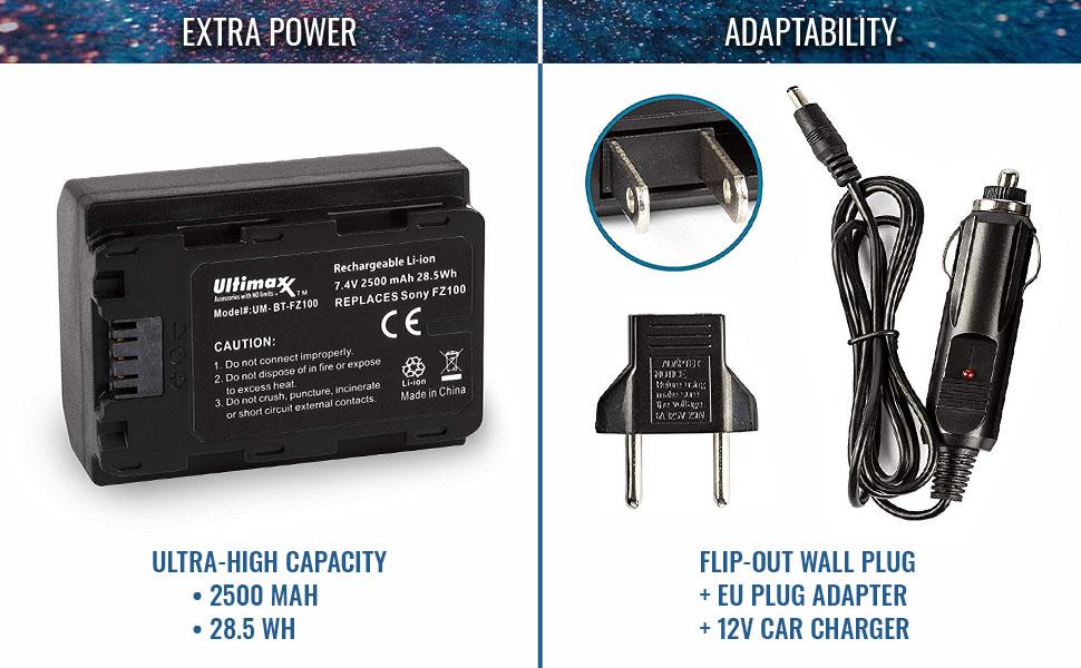 ultimaxx sony high capacity extra power charge flip fold plug car adapter universal travel alpha